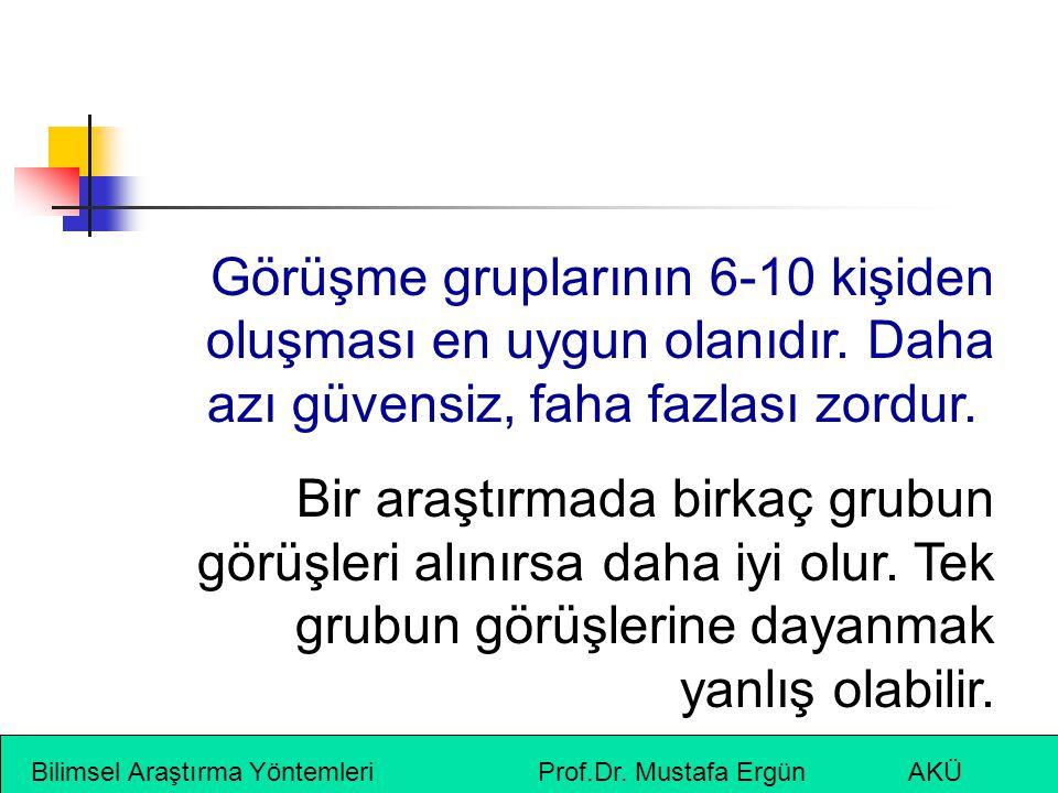 Bilimsel Araştırma Yöntemleri Prof.Dr. Mustafa Ergün AKÜ Görüşme gruplarının 6-10 kişiden oluşması en uygun olanıdır. Daha azı güvensiz, faha fazlası