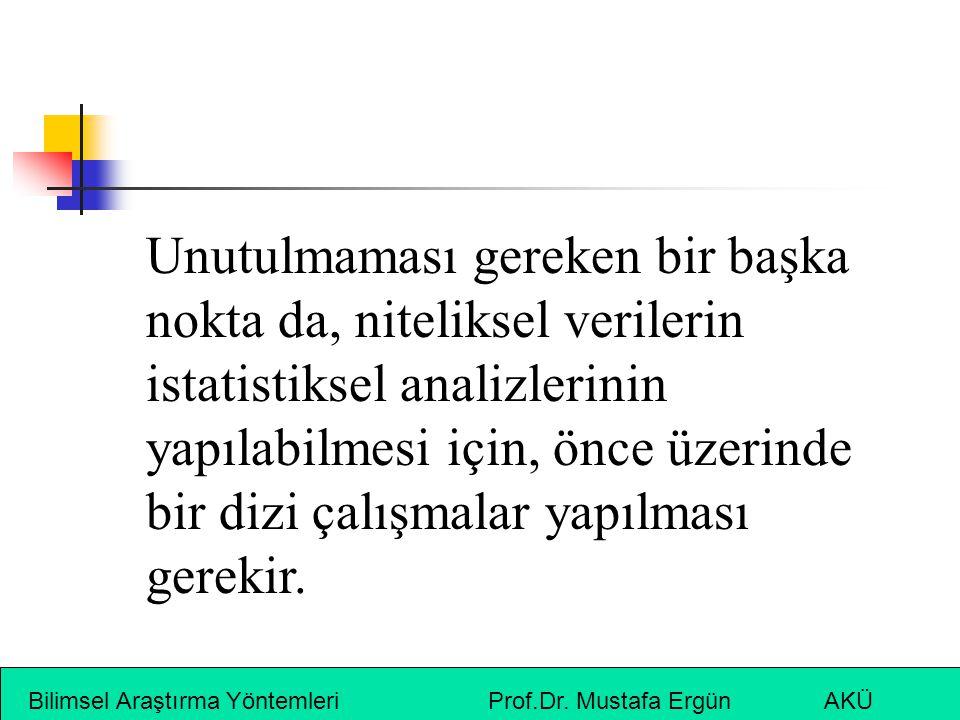 Bilimsel Araştırma Yöntemleri Prof.Dr. Mustafa Ergün AKÜ Unutulmaması gereken bir başka nokta da, niteliksel verilerin istatistiksel analizlerinin yap