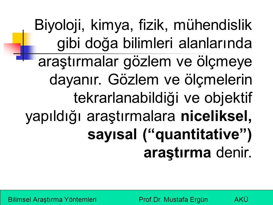 Bilimsel Araştırma Yöntemleri Prof.Dr. Mustafa Ergün AKÜ Biyoloji, kimya, fizik, mühendislik gibi doğa bilimleri alanlarında araştırmalar gözlem ve öl