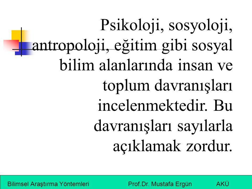 Bilimsel Araştırma Yöntemleri Prof.Dr. Mustafa Ergün AKÜ Psikoloji, sosyoloji, antropoloji, eğitim gibi sosyal bilim alanlarında insan ve toplum davra