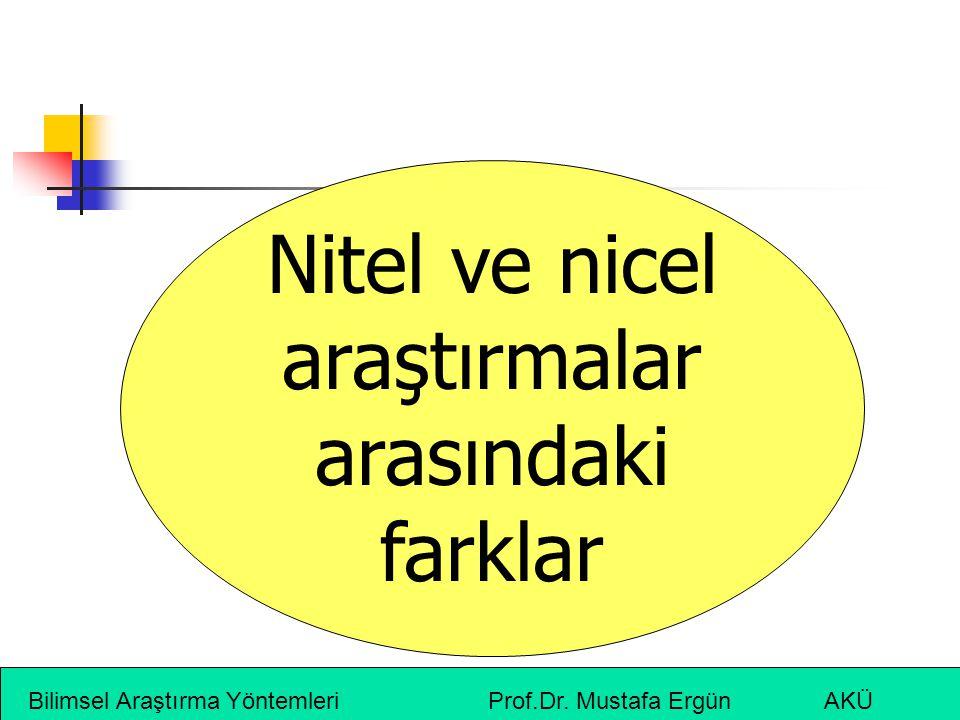 Bilimsel Araştırma Yöntemleri Prof.Dr. Mustafa Ergün AKÜ Nitel ve nicel araştırmalar arasındaki farklar