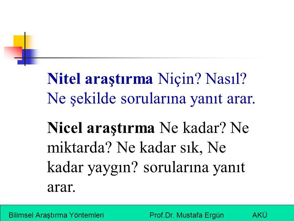 Bilimsel Araştırma Yöntemleri Prof.Dr. Mustafa Ergün AKÜ Nitel araştırma Niçin? Nasıl? Ne şekilde sorularına yanıt arar. Nicel araştırma Ne kadar? Ne