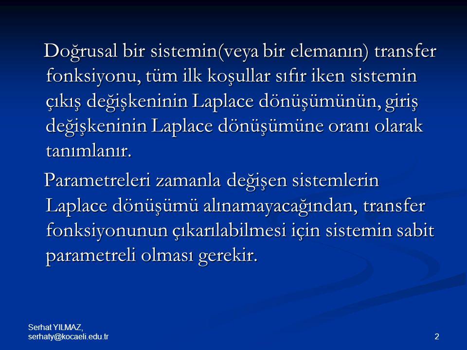 Serhat YILMAZ, serhaty@kocaeli.edu.tr 53 Basamak yanıtının çizdirilmesi