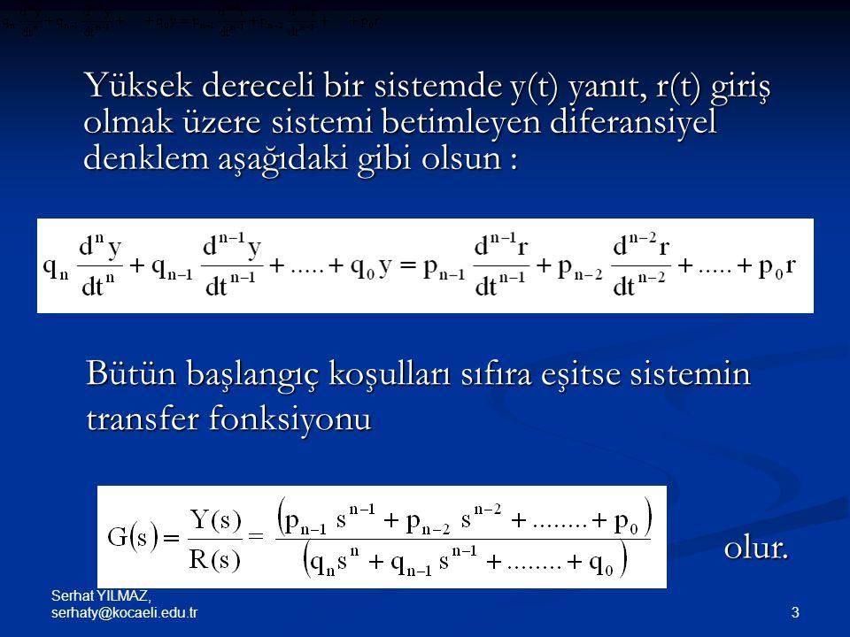 Serhat YILMAZ, serhaty@kocaeli.edu.tr 34 Örnek : Etkileşimli bir sistemin transfer fonksiyonu (Dorf ve Bishop,2005) İki yola sahip olan işaret akış şemasında Y(s)/R(s) transfer fonksiyonunu bulunuz.