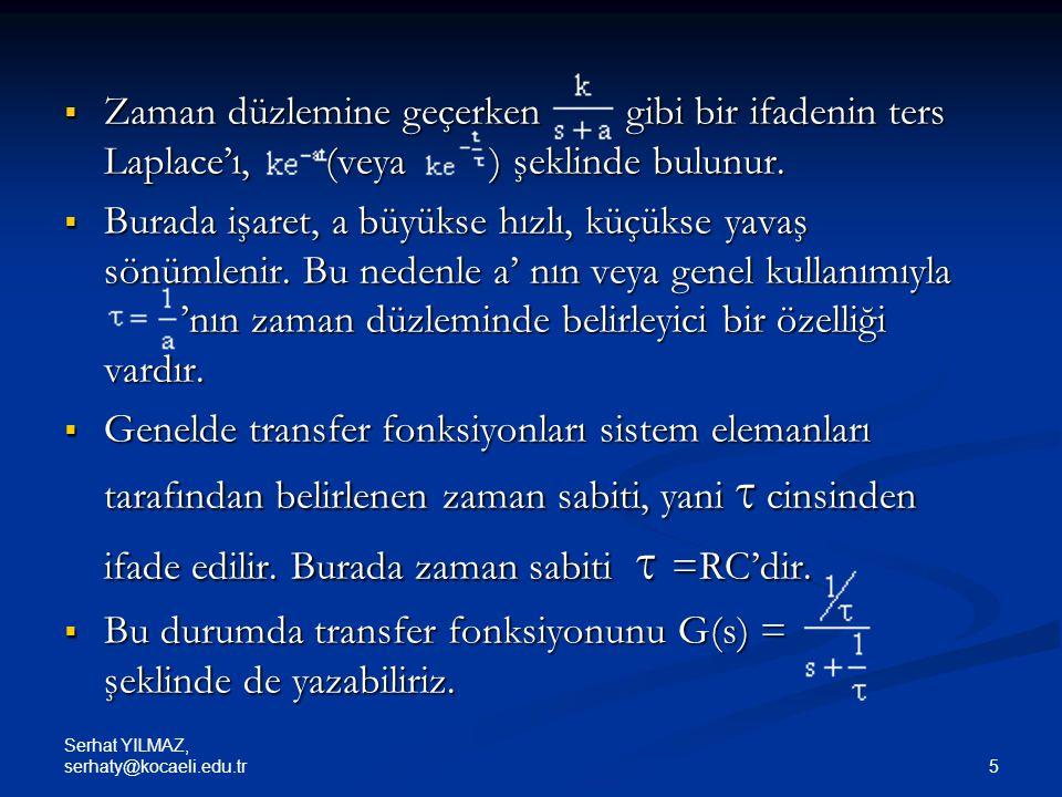 Serhat YILMAZ, serhaty@kocaeli.edu.tr 36 Örnek : Karmaşık bir sistemin transfer fonksiyonu (Dorf ve Bishop,2005) Çözüm: • İleri yollar P 1 =G 1 G 2 G 3 G 4 G 5 G 6 P 2 =G 1 G 2 G 7 G 6 P 3 =G 1 G 2 G 3 G 4 G 8 • Geri bildirim döngüleri L 1 = -G 2 G 3 G 4 G 5 H 2 L 2 = -G 5 G 6 H 1 L 3 = -G 8 H 1 L 4 = -G 7 H 2 G 2 L 5 = -G 4 H 4 L 6 = -G 1 G 2 G 3 G 4 G 5 G 6 H 3 L 7 = -G 1 G 2 G 7 G 6 H 3 L 8 = -G 1 G 2 G 3 G 4 G 8 H 3 Şekil.
