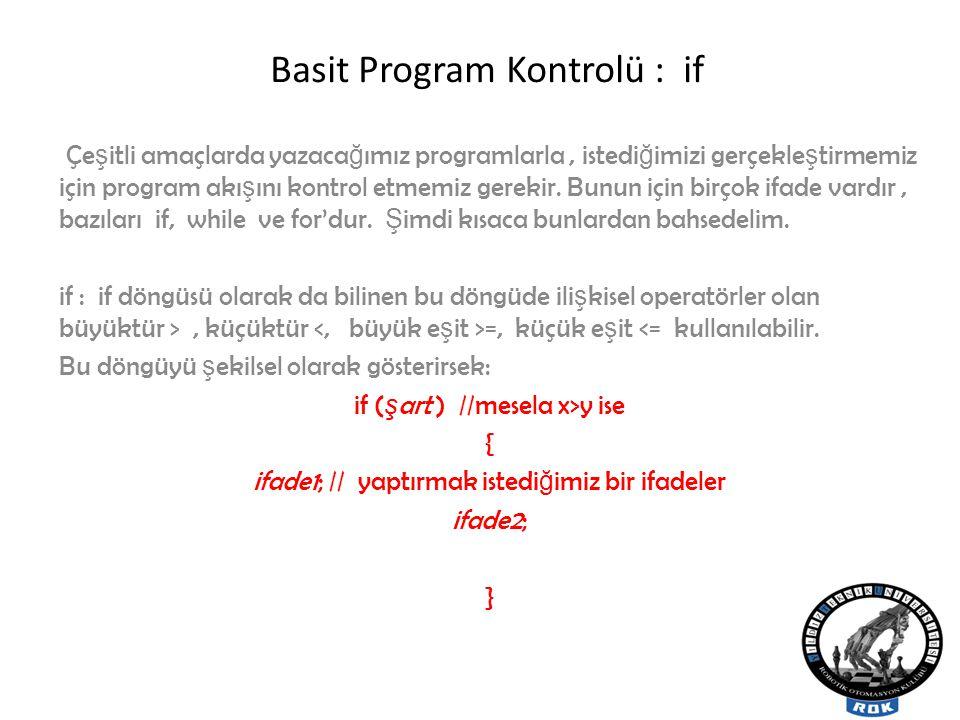 Basit Program Kontrolü : if Çe ş itli amaçlarda yazaca ğ ımız programlarla, istedi ğ imizi gerçekle ş tirmemiz için program akı ş ını kontrol etmemiz gerekir.