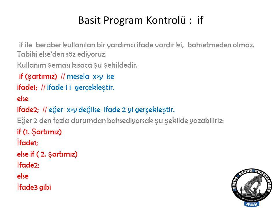 Basit Program Kontrolü : if if ile beraber kullanılan bir yardımcı ifade vardır ki, bahsetmeden olmaz.