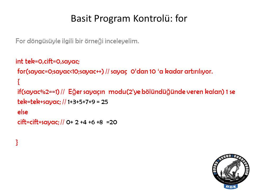 Basit Program Kontrolü: for For döngüsüyle ilgili bir örne ğ i inceleyelim.