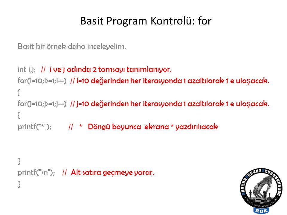 Basit Program Kontrolü: for Basit bir örnek daha inceleyelim.