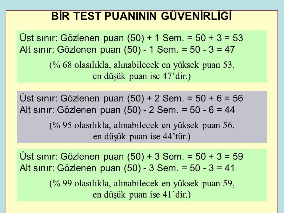 BİR TEST PUANININ GÜVENİRLİĞİ Üst sınır: Gözlenen puan (50) + 1 Sem. = 50 + 3 = 53 Alt sınır: Gözlenen puan (50) - 1 Sem. = 50 - 3 = 47 (% 68 olasılık