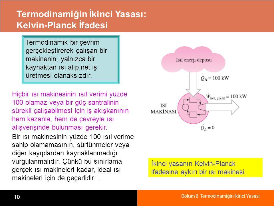 Bölüm 6: Termodinamiğin İkinci Yasası 10 Termodinamiğin İkinci Yasası: Kelvin-Planck İfadesi İkinci yasanın Kelvin-Planck ifadesine aykırı bir ısı mak