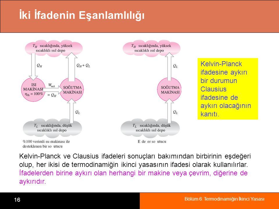 Bölüm 6: Termodinamiğin İkinci Yasası 16 İki İfadenin Eşanlamlılığı Kelvin-Planck ifadesine aykırı bir durumun Clausius ifadesine de aykırı olacağının