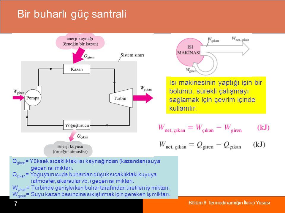 Bölüm 6: Termodinamiğin İkinci Yasası 7 Bir buharlı güç santrali Isı makinesinin yaptığı işin bir bölümü, sürekli çalışmayı sağlamak için çevrim içind