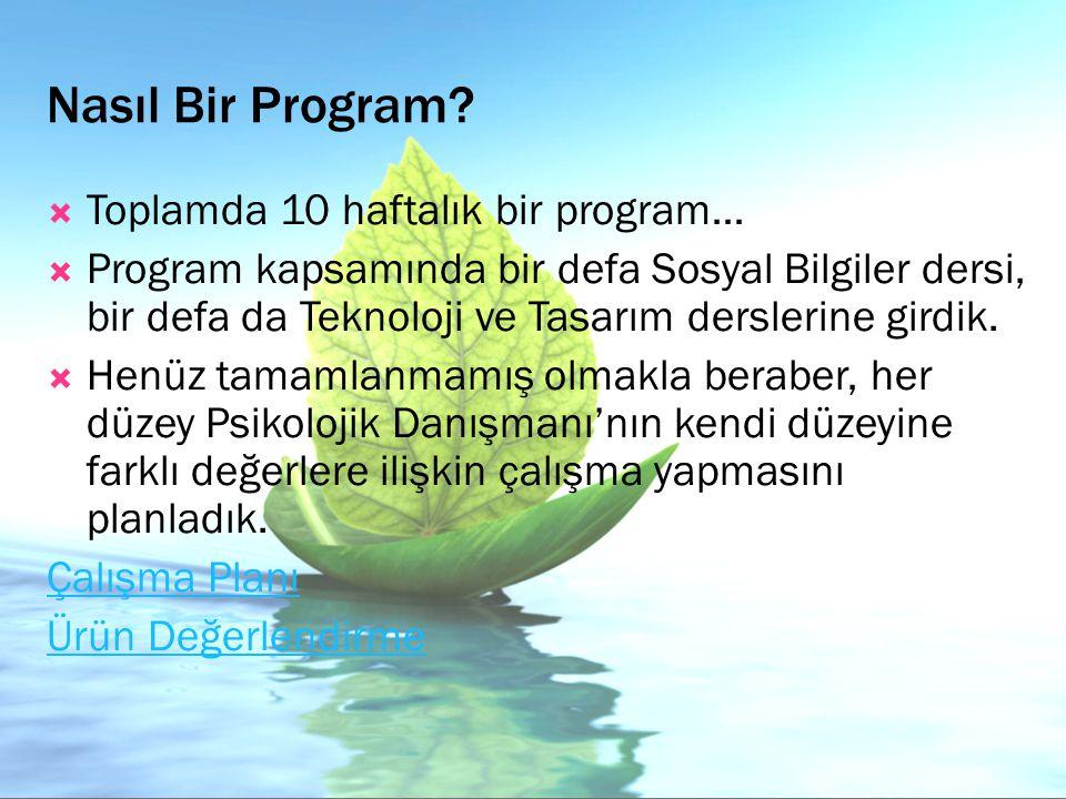 Nasıl Bir Program?  Toplamda 10 haftalık bir program…  Program kapsamında bir defa Sosyal Bilgiler dersi, bir defa da Teknoloji ve Tasarım derslerin