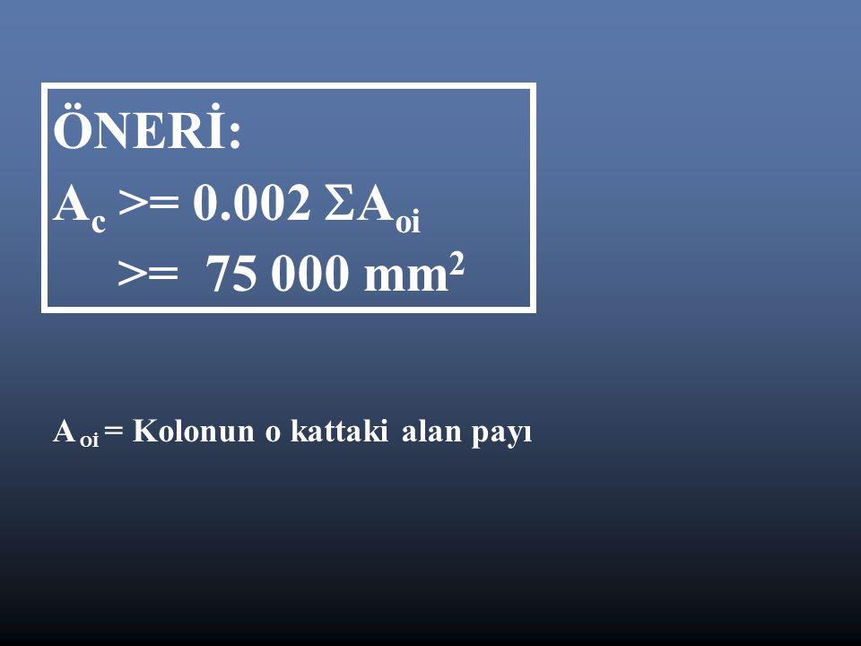 ÖNERİ: A c >= 0.002  A oi >= 75 000 mm 2 A Oİ = Kolonun o kattaki alan payı