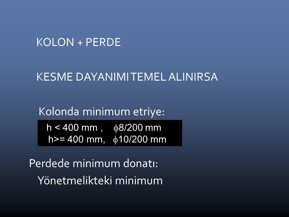 KOLON + PERDE KESME DAYANIMI TEMEL ALINIRSA Kolonda minimum etriye:  8 / 200 mm Perdede minimum donatı: Yönetmelikteki minimum h < 400 mm,  8/200 mm h>= 400 mm,  10/200 mm