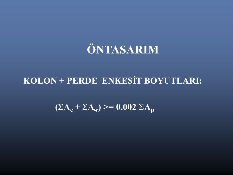 ÖNTASARIM KOLON + PERDE ENKESİT BOYUTLARI: (  A c +  A w ) >= 0.002  A p