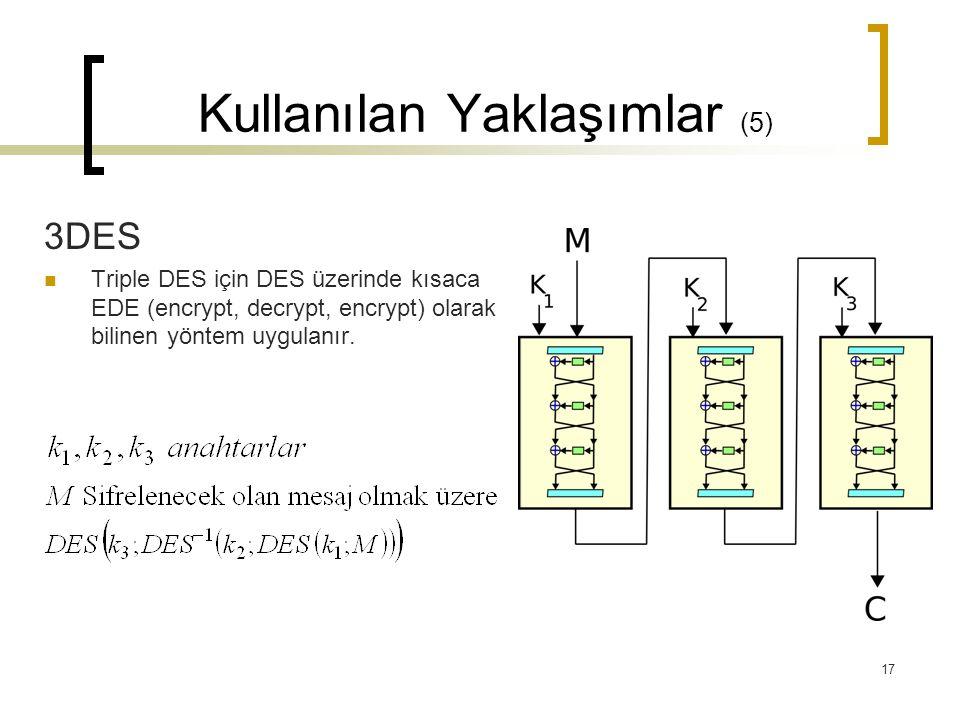 17 Kullanılan Yaklaşımlar (5) 3DES  Triple DES için DES üzerinde kısaca EDE (encrypt, decrypt, encrypt) olarak bilinen yöntem uygulanır.