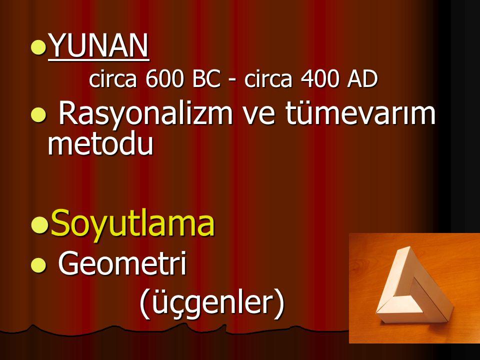  YUNAN circa 600 BC - circa 400 AD circa 600 BC - circa 400 AD  Rasyonalizm ve tümevarım metodu  Soyutlama  Geometri (üçgenler) (üçgenler)