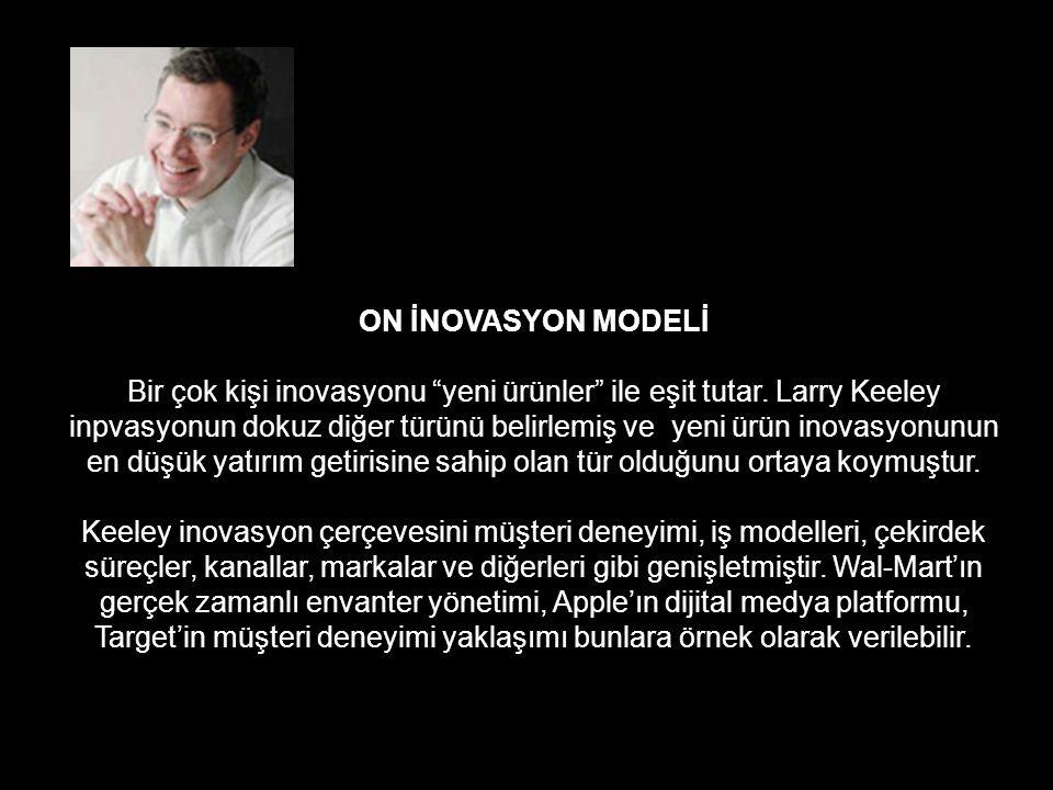 """ON İNOVASYON MODELİ Bir çok kişi inovasyonu """"yeni ürünler"""" ile eşit tutar. Larry Keeley inpvasyonun dokuz diğer türünü belirlemiş ve yeni ürün inovasy"""