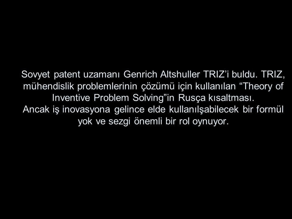 """Sovyet patent uzamanı Genrich Altshuller TRIZ'i buldu. TRIZ, mühendislik problemlerinin çözümü için kullanılan """"Theory of Inventive Problem Solving""""in"""