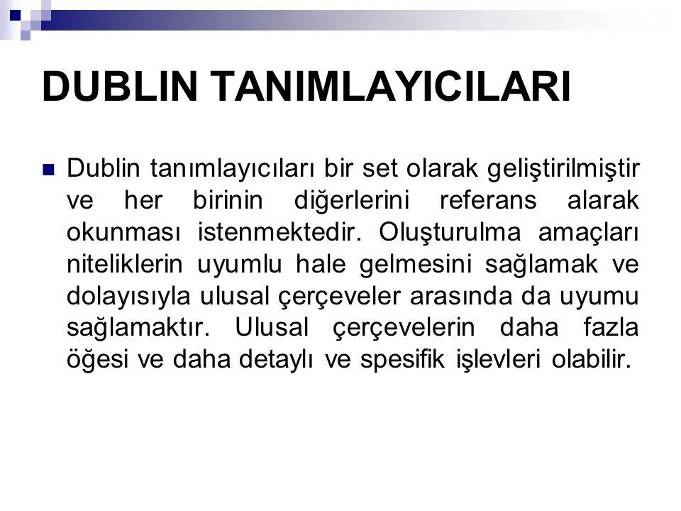 DUBLIN TANIMLAYICILARI  Dublin tanımlayıcıları bir set olarak geliştirilmiştir ve her birinin diğerlerini referans alarak okunması istenmektedir. Olu