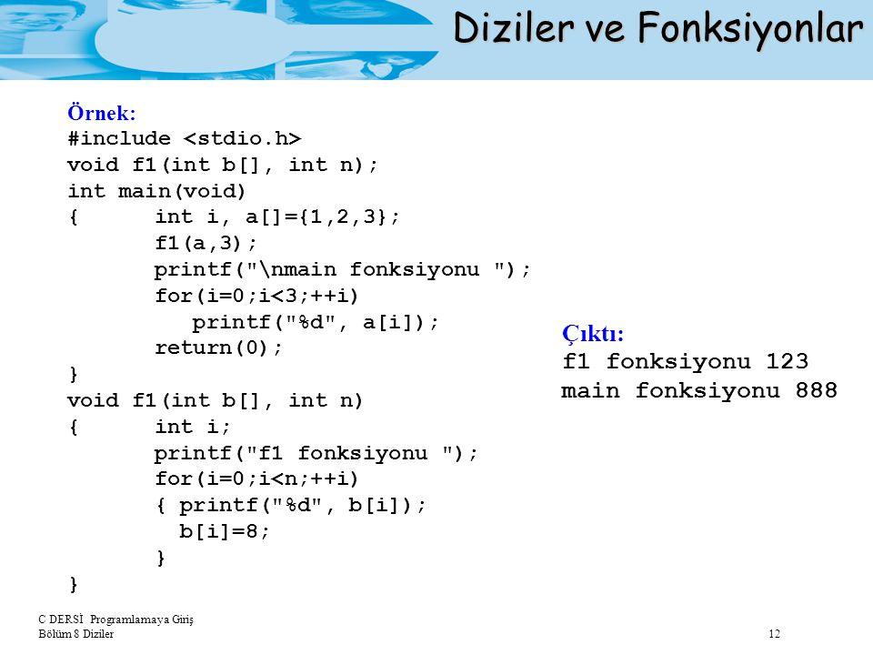 C DERSİ Programlamaya Giriş Bölüm 8 Diziler 12 Diziler ve Fonksiyonlar Örnek: #include void f1(int b[], int n); int main(void) {int i, a[]={1,2,3}; f1