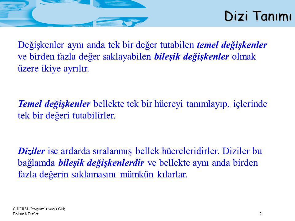 C DERSİ Programlamaya Giriş Bölüm 8 Diziler 3 Dizi Tanımı veri_tipi dizi_ismi [eleman_sayısı]; Bellek Görüntüsü: