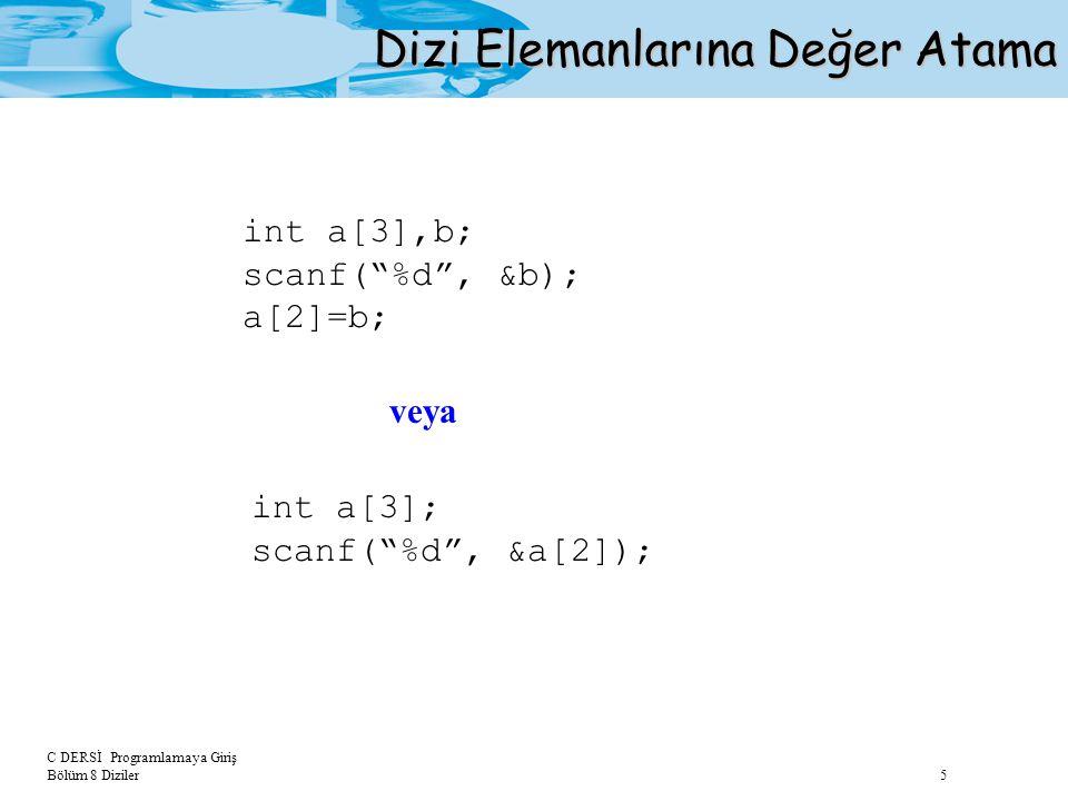 C DERSİ Programlamaya Giriş Bölüm 8 Diziler 6 Dizi Elemanlarına Değer Atama #include int main(void) {int a[5]; int i,toplam; double orta; /*Kullanici degerlerinin dizide saklanmasi*/ printf( Bes tamsayi giriniz: ); for(i=0;i<5;++i) scanf( %d ,&a[i]); /*Toplam ve ortalamanin bulunmasi*/ toplam=0; for(i=0;i<5;++i) toplam=toplam+a[i]; orta= toplam/5.0; printf( Ortalama=%5.2f ,orta); return (0); } Örnek:Kullanıcıdan alınan 5 tamsayı değerini bir dizide saklayan ve bu değerlerin ortalamasını bulan bir program yazalım