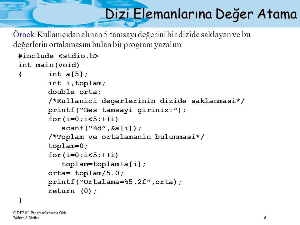C DERSİ Programlamaya Giriş Bölüm 8 Diziler 6 Dizi Elemanlarına Değer Atama #include int main(void) {int a[5]; int i,toplam; double orta; /*Kullanici