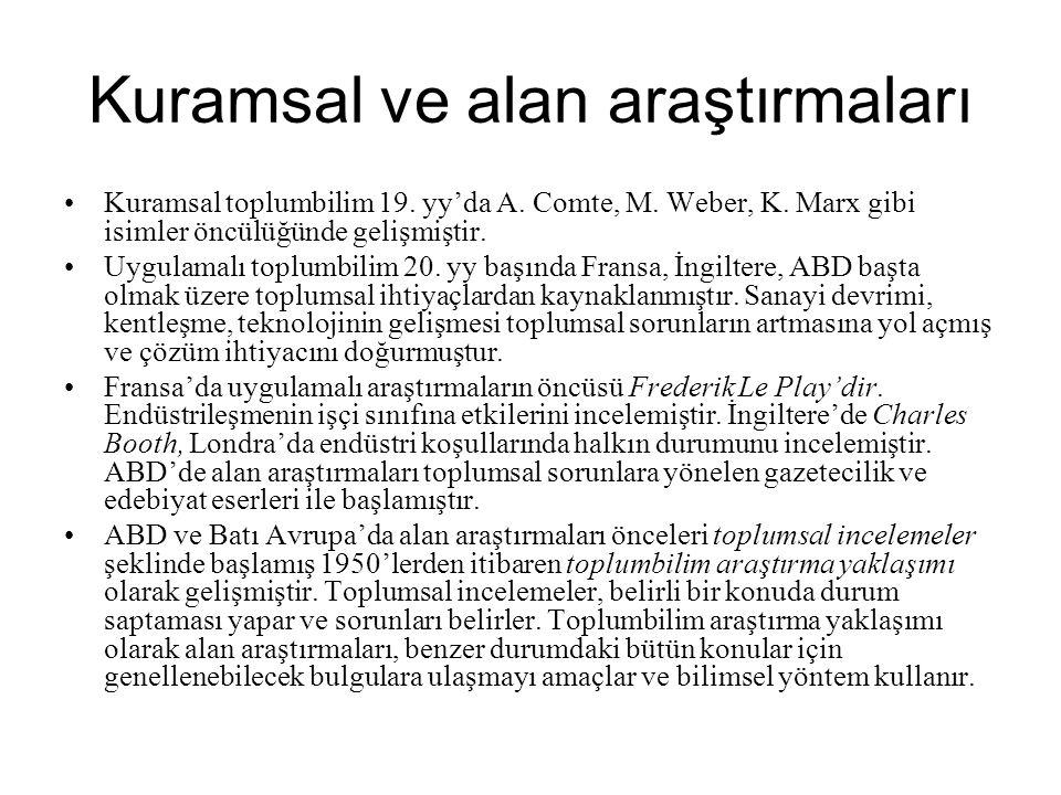 Kuramsal ve alan araştırmaları •Kuramsal toplumbilim 19. yy'da A. Comte, M. Weber, K. Marx gibi isimler öncülüğünde gelişmiştir. •Uygulamalı toplumbil