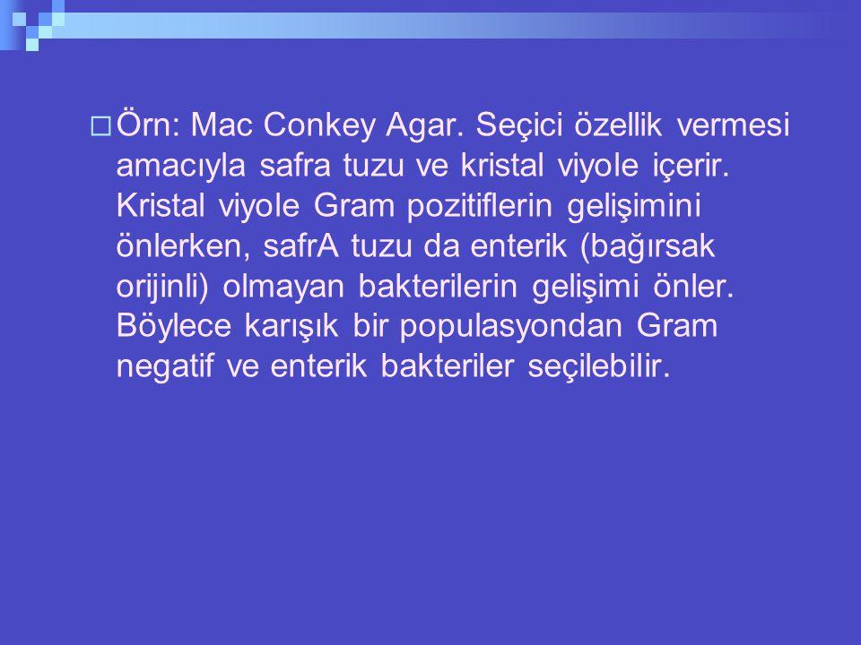  Örn: Mac Conkey Agar.Seçici özellik vermesi amacıyla safra tuzu ve kristal viyole içerir.
