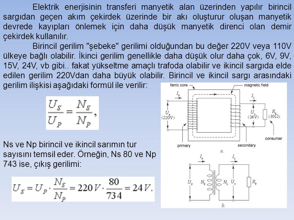 Elektrik enerjisinin transferi manyetik alan üzerinden yapılır birincil sargıdan geçen akım çekirdek üzerinde bir akı oluşturur oluşan manyetik devrede kayıpları önlemek için daha düşük manyetik direnci olan demir çekirdek kullanılır.