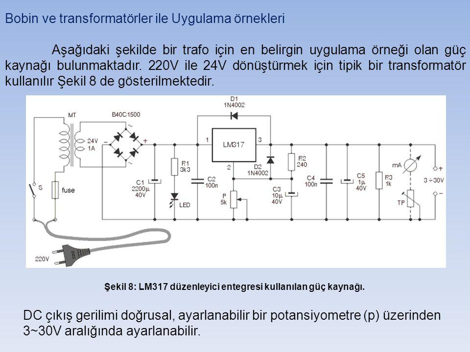 Bobin ve transformatörler ile Uygulama örnekleri Aşağıdaki şekilde bir trafo için en belirgin uygulama örneği olan güç kaynağı bulunmaktadır.