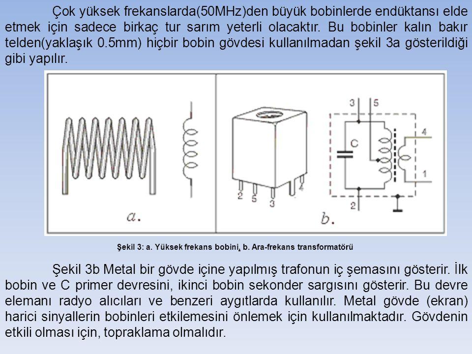 Çok yüksek frekanslarda(50MHz)den büyük bobinlerde endüktansı elde etmek için sadece birkaç tur sarım yeterli olacaktır.