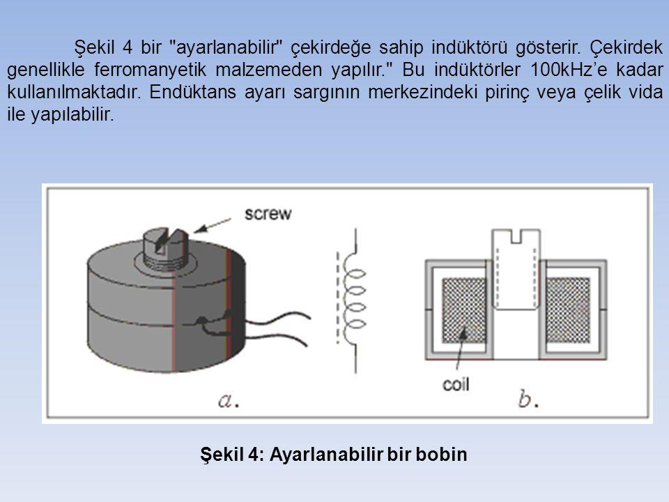 Şekil 4 bir ayarlanabilir çekirdeğe sahip indüktörü gösterir.