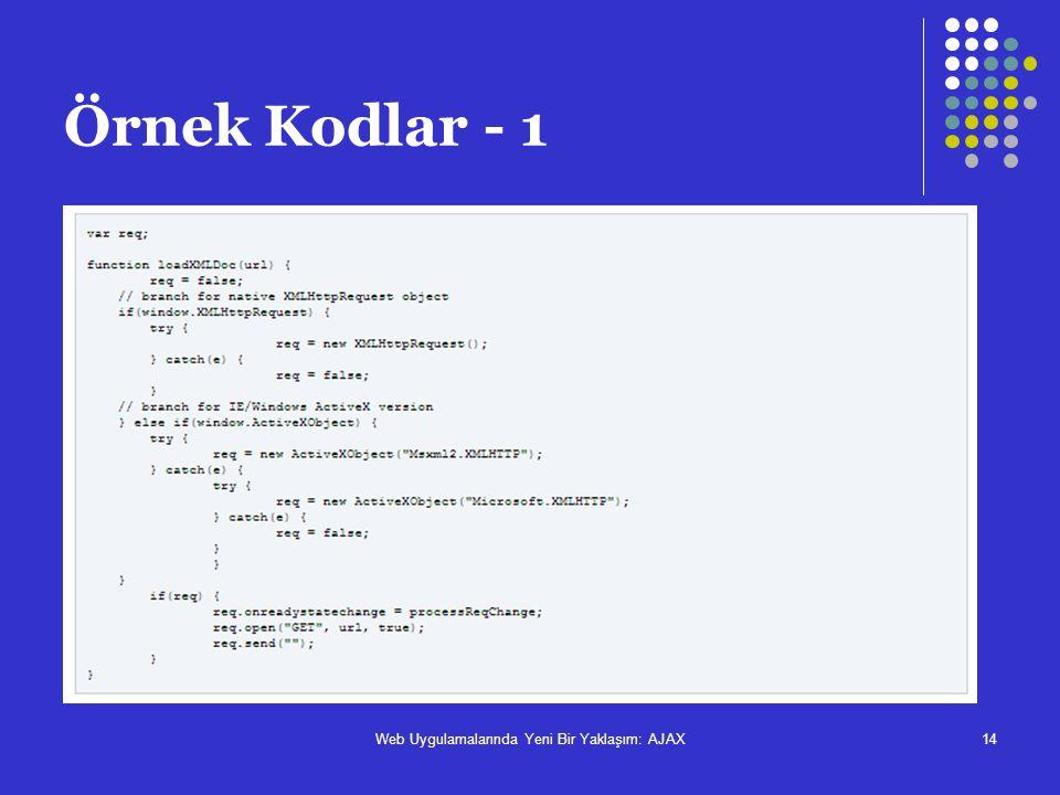 Web Uygulamalarında Yeni Bir Yaklaşım: AJAX14 Örnek Kodlar - 1