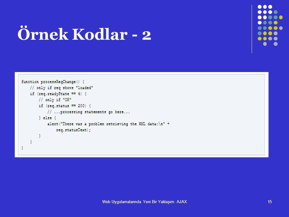 Web Uygulamalarında Yeni Bir Yaklaşım: AJAX15 Örnek Kodlar - 2