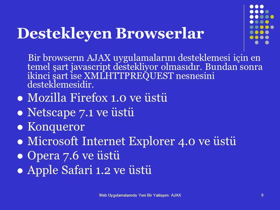 Web Uygulamalarında Yeni Bir Yaklaşım: AJAX9 Destekleyen Browserlar Bir browserın AJAX uygulamalarını desteklemesi için en temel şart javascript deste