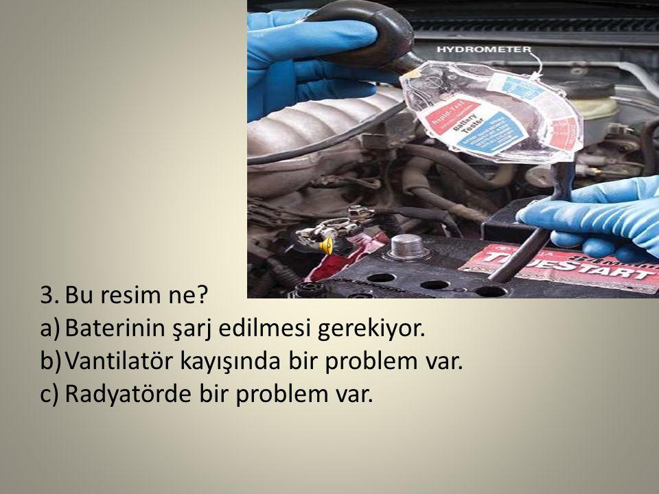 2.Bu resim ne? a)Vantilatör kayışında bir problem var. b)Radyatörde bir problem var. c)Frende bir problem var.