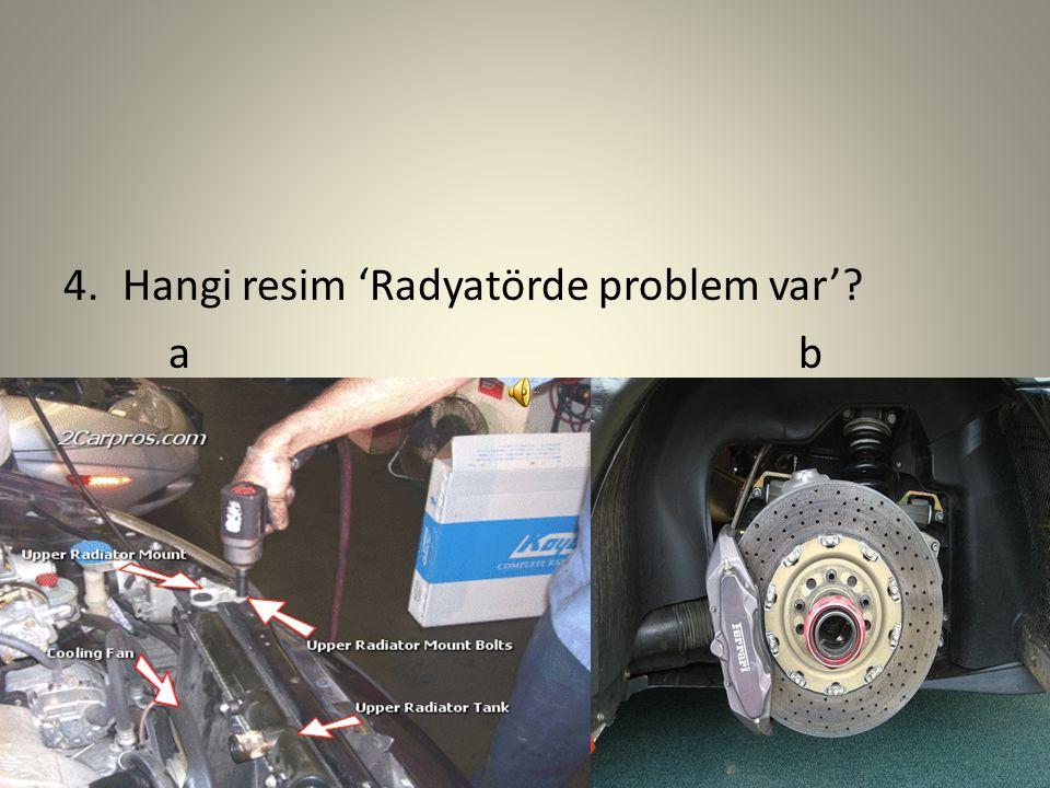 3.Bu resim ne? a)Baterinin şarj edilmesi gerekiyor. b)Vantilatör kayışında bir problem var. c)Radyatörde bir problem var.