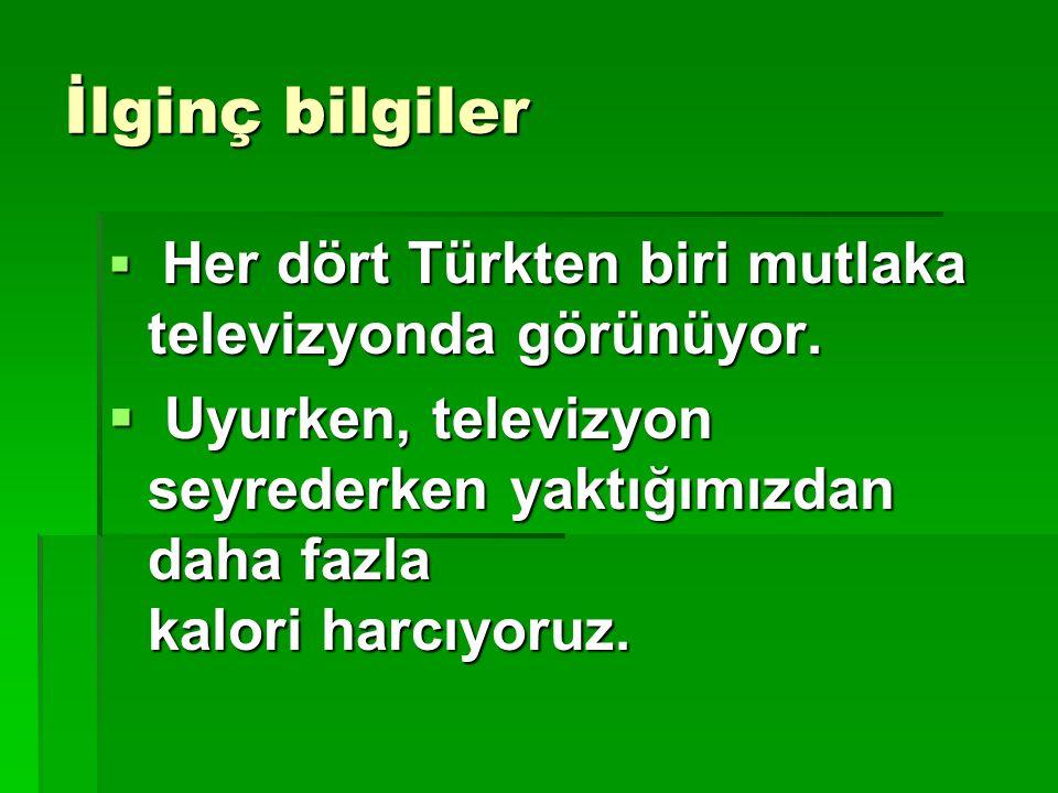 İlginç bilgiler  Her dört Türkten biri mutlaka televizyonda görünüyor.  Uyurken, televizyon seyrederken yaktığımızdan daha fazla kalori harcıyoruz.