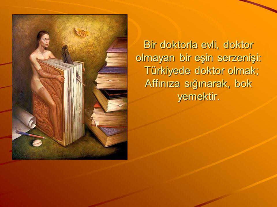 Bir doktorla evli, doktor olmayan bir eşin serzenişi: Türkiyede doktor olmak; Affınıza sığınarak, bok yemektir.