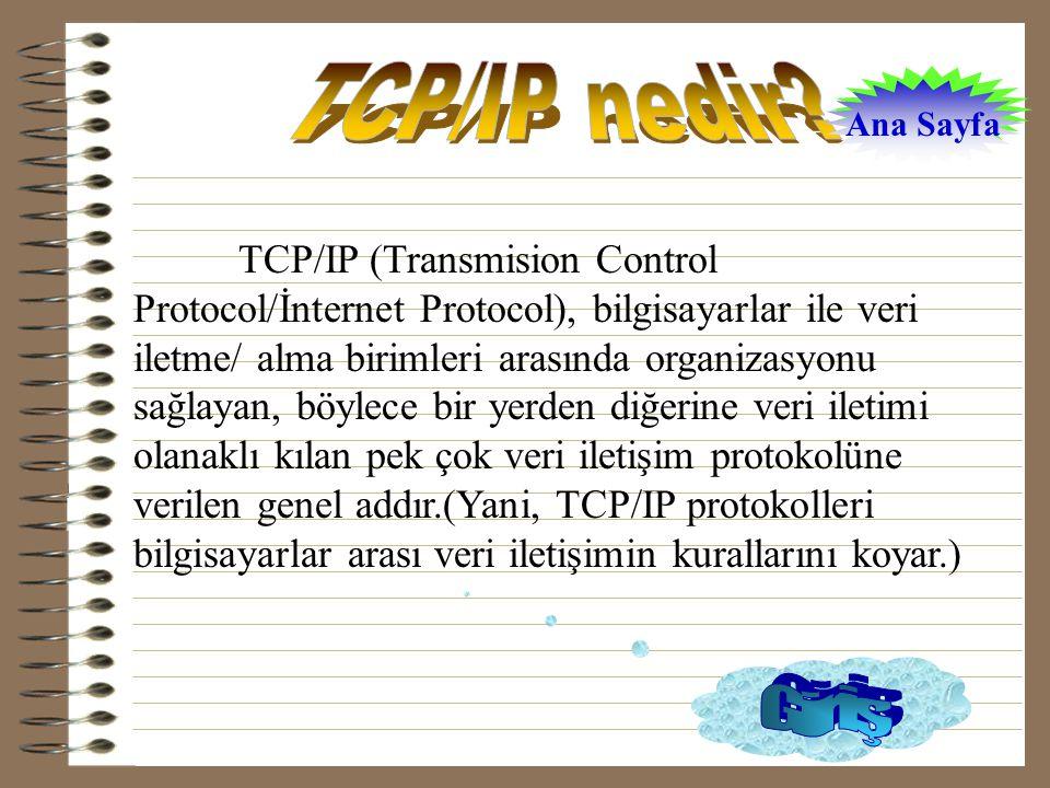TCP/IP (Transmision Control Protocol/İnternet Protocol), bilgisayarlar ile veri iletme/ alma birimleri arasında organizasyonu sağlayan, böylece bir yerden diğerine veri iletimi olanaklı kılan pek çok veri iletişim protokolüne verilen genel addır.(Yani, TCP/IP protokolleri bilgisayarlar arası veri iletişimin kurallarını koyar.) Ana Sayfa