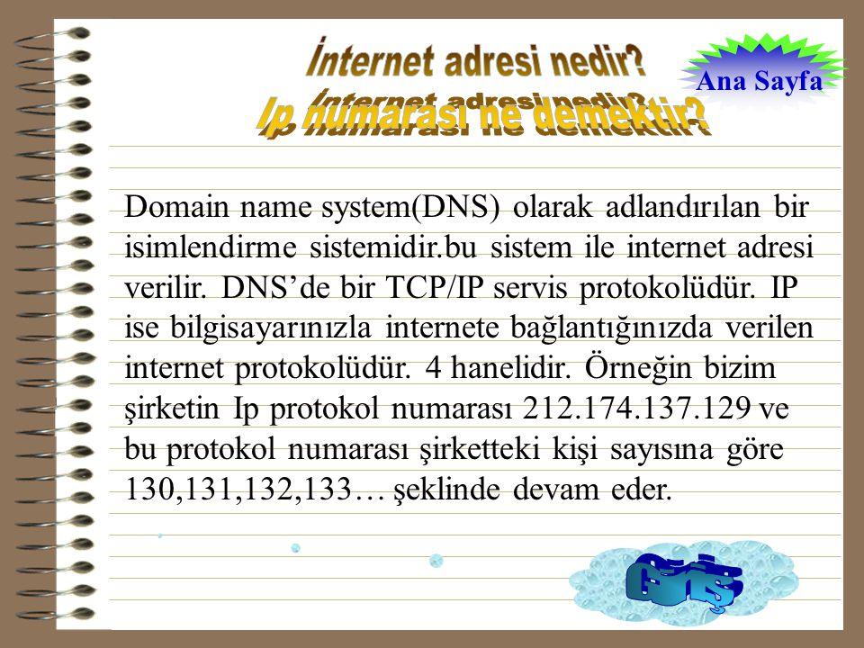 Domain name system(DNS) olarak adlandırılan bir isimlendirme sistemidir.bu sistem ile internet adresi verilir.