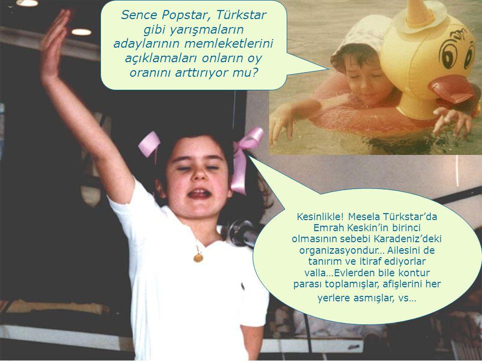Sence Popstar, Türkstar gibi yarışmaların adaylarının memleketlerini açıklamaları onların oy oranını arttırıyor mu.