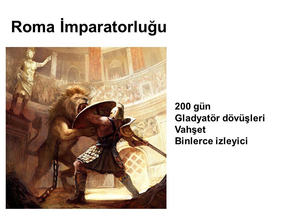 200 gün Gladyatör dövüşleri Vahşet Binlerce izleyici Roma İmparatorluğu