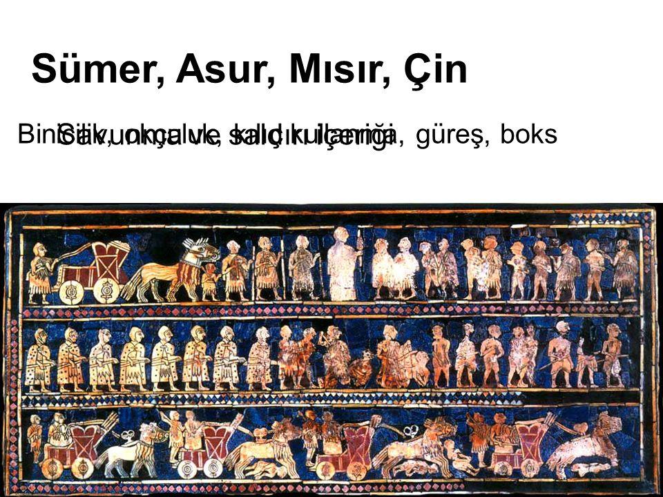 Binicilik, okçuluk, kılıç kullanma, güreş, boks Sümer, Asur, Mısır, Çin Savunma ve saldırı içeriği