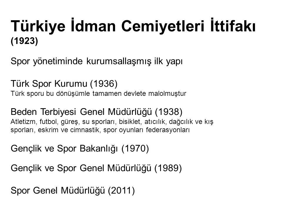 Spor yönetiminde kurumsallaşmış ilk yapı Türk Spor Kurumu (1936) Türk sporu bu dönüşümle tamamen devlete malolmuştur Beden Terbiyesi Genel Müdürlüğü (