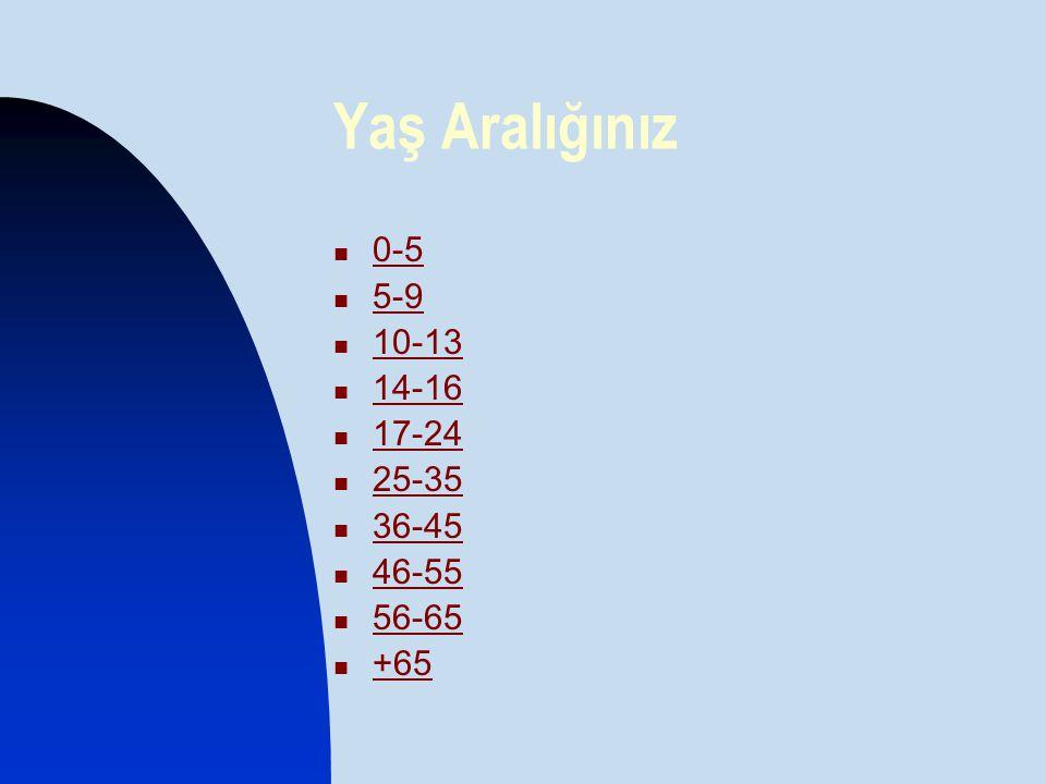Yaş Aralığınız  0-5 0-5  5-9 5-9  10-13 10-13  14-16 14-16  17-24 17-24  25-35 25-35  36-45 36-45  46-55 46-55  56-65 56-65  +65 +65